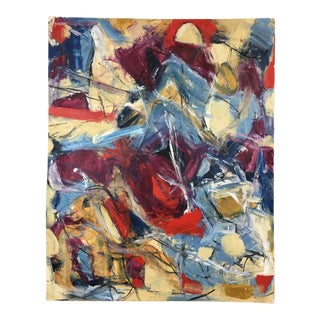 Vintage Abstract Acrylic on Cardboard Painting For Sale