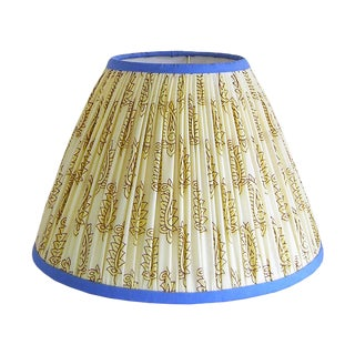 Gathered Lamp Shade, Cream and Maroon With Blue Trim
