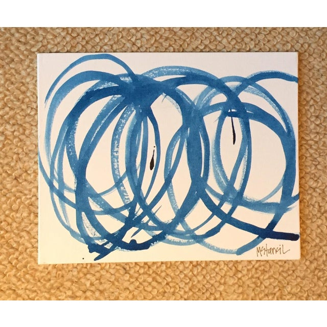 Blue Circles on Canvas Original Composition - Image 2 of 3