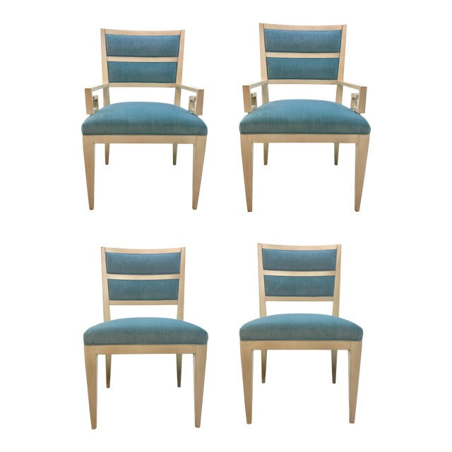 Hickory White Modern Turquoise Velvet Greek Key Dining Chairs Set of Four For Sale