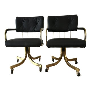 Leather / Brass Rolling Armchairs - a Pair