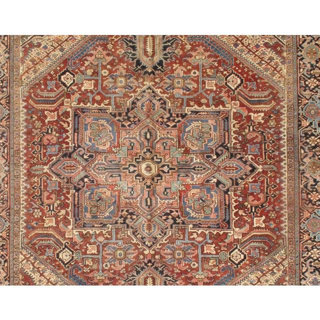 Original Persian Karajeh Antique Heriz Family. Lamb's Wool on a Cotton Foundation. Hand-Spun Wool Rug. Vegetable Dyed.