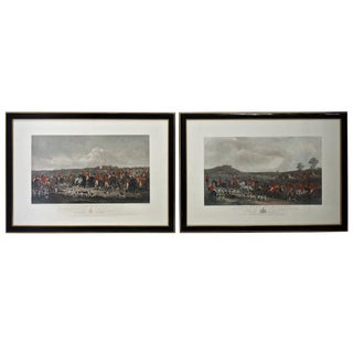 Pair of 19th Century Engravings of English Fox Hunting Scenes For Sale