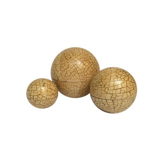 Organic Modern Nesting Wood Sphere Boxes - Set of 3 For Sale