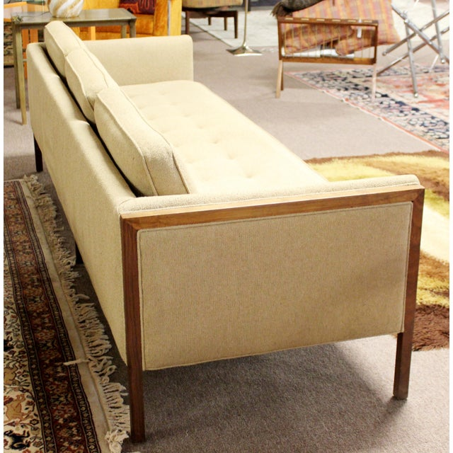 Wood Mid Century Modern Sofa Wood Framed Probber Knoll Attributed 1960s For Sale - Image 7 of 10