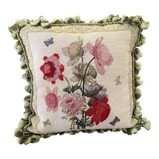 Vintage Floral Down-Filled Pillow For Sale