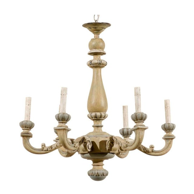 Wood French Carved and Painted Wood Six-Light Vintage Chandelier, Neutral Color For Sale - Image 7 of 7