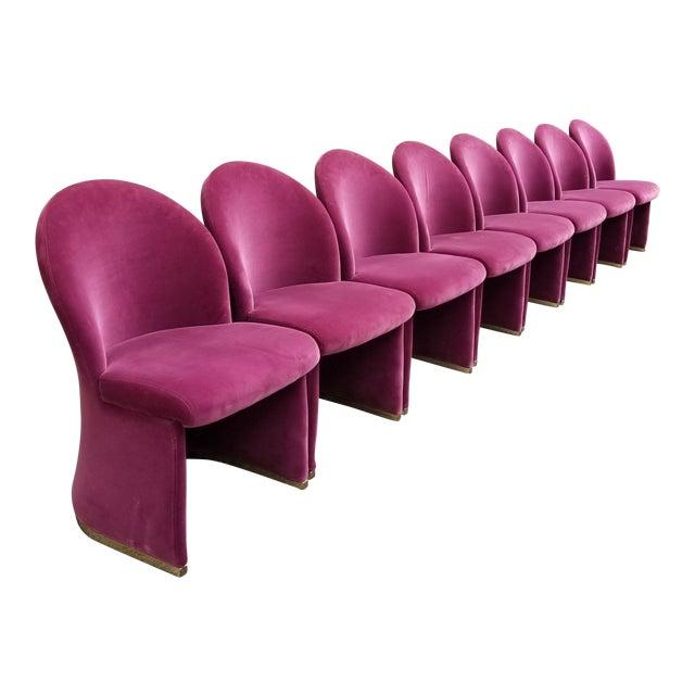 Mid-Century Purple Velvet Dining Chairs - Set of 8 - Image 1 of 8