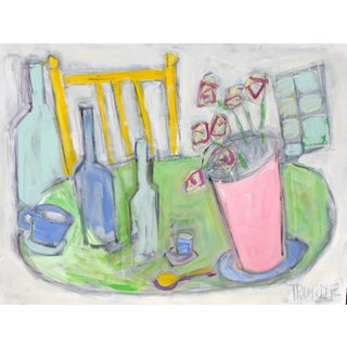 "Sarah Trundle ""Yellow Chair"" Contemporary Still Life Painting For Sale"