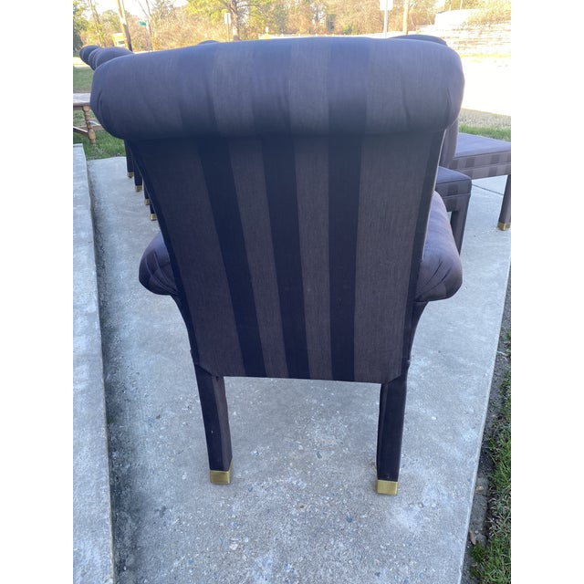 1980s Mastercraft Contemporary Style Parsons Dining Chairs - Set/12 For Sale - Image 5 of 12