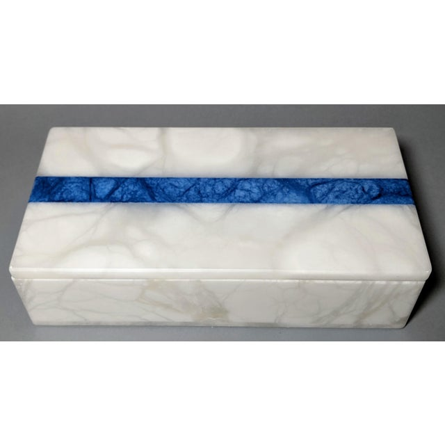 Hermes Inspired Alabaster Box With Navy Blue Stripe For Sale - Image 13 of 13