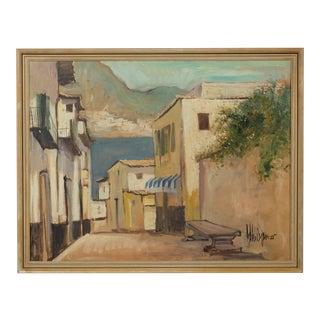 1925 Town Plaza Mediterranean Landscape Oil on Canvas For Sale