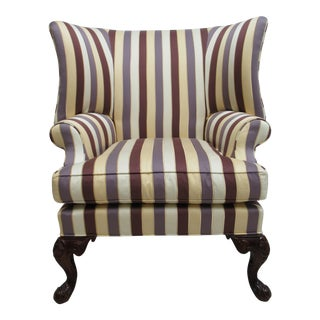 Century Furniture French Oversized Stripe Upholstered Lounge Wing Chair For Sale