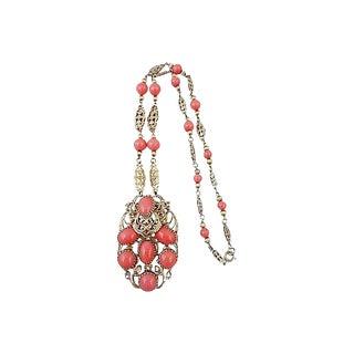 1960s Napier Faux-Coral Cabochon Necklace For Sale