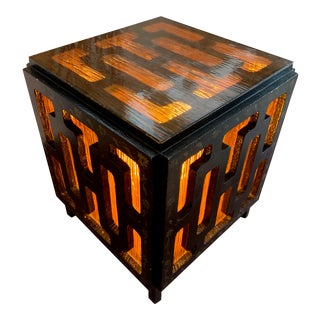Mid Century Tiki-Style Cube Side Table Lamp For Sale