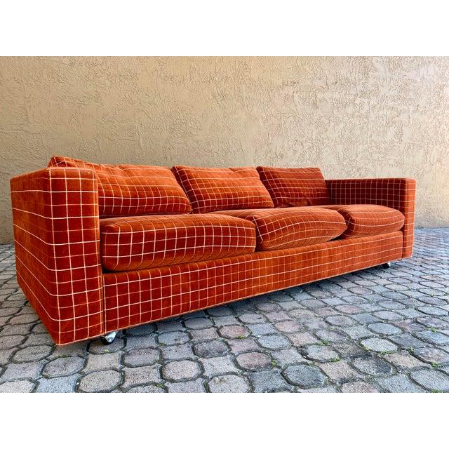 70s Orange Stripped Long Sofa Baughman/Probber Era For Sale - Image 9 of 9
