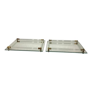 Vintage Lucite Mirrored Trays - A Pair