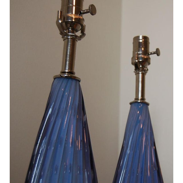 Vintage Murano Opaline Glass Table Lamps Lavender For Sale In Little Rock - Image 6 of 9