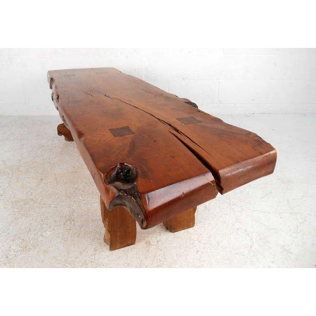 Rustic Wood Slab Coffee Table For Sale In New York - Image 6 of 8