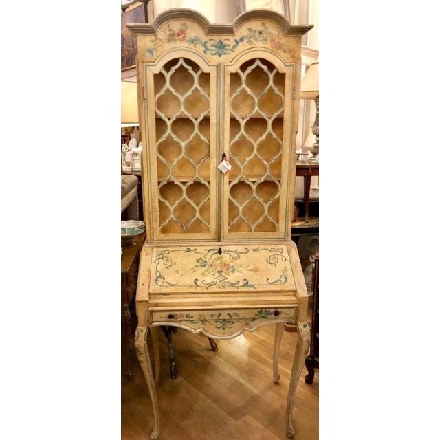 Antique Italian Paint Decorated Secretary Desk For Sale - Image 9 of 9