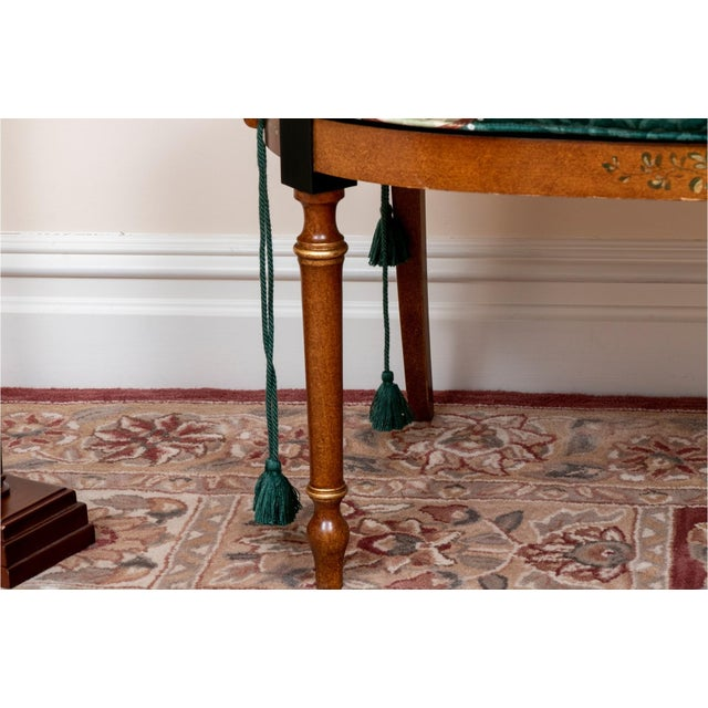 Brown Early 20th Century Satinwood Hand-Painted Cane Settee For Sale - Image 8 of 12
