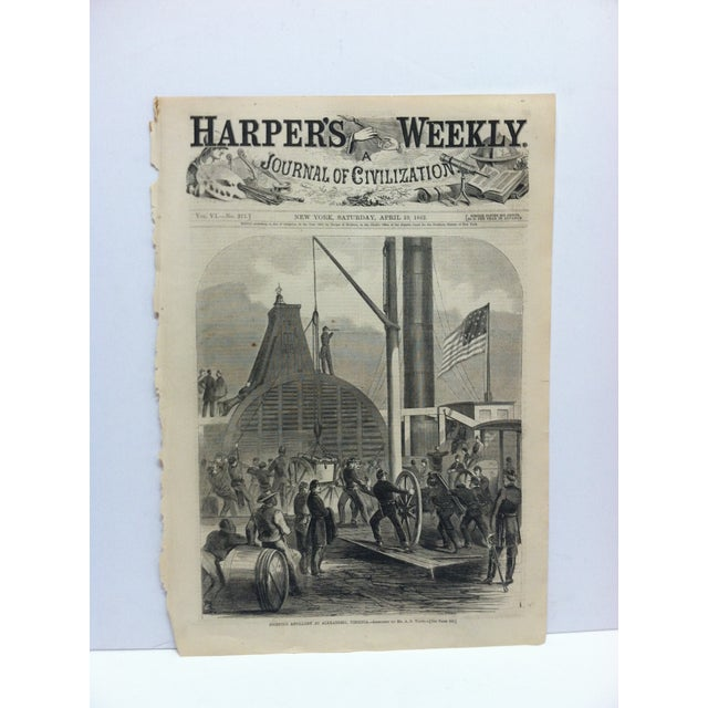 "1862 Antique ""Shipping Artillery at Alexandria Virginia"" The Harper's Weekly Print For Sale In Pittsburgh - Image 6 of 6"