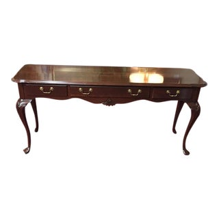 Queen Anne Ethan Allen Cherry Sofa Table For Sale