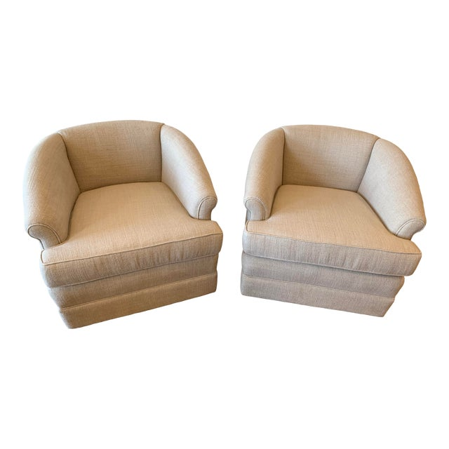 1950s Vintage Curve Back Natural Linen Swivel Chairs- A Pair For Sale