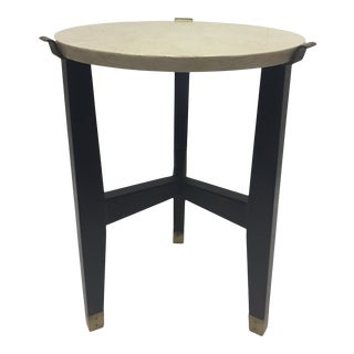 1980s Contemporary Travertine and Ebonized Side or Occasional Table For Sale