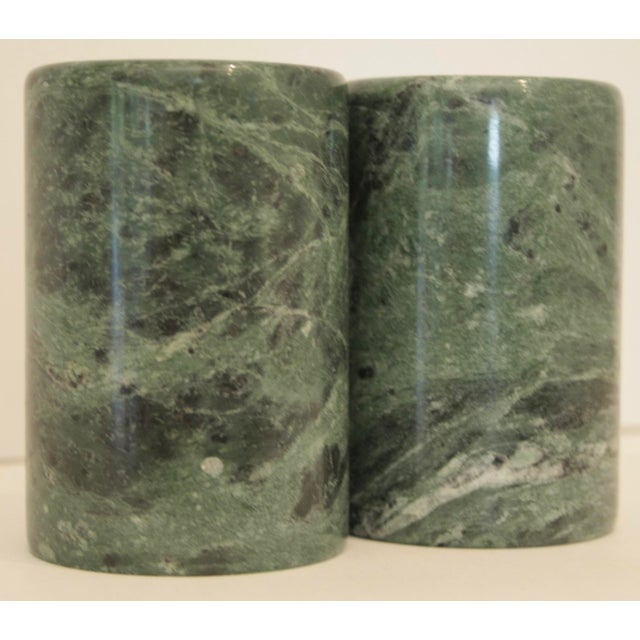 Solid carved marble salt and pepper shakers in minimalist, modernist cylindrical form. Very pretty deep emerald and forest...