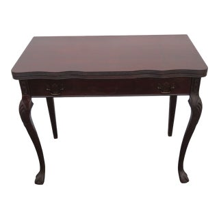 Mahogany Carved Console Card Game Dining Extension Table 1702 For Sale