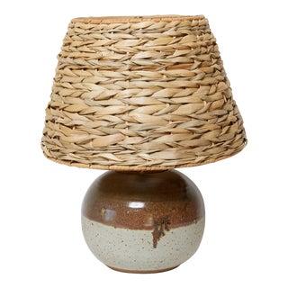 Cute California Studio Pottery Lamp With Chunky Woven Shade