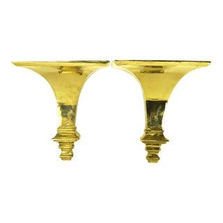 Modern Brass Wall Brackets - a Pair For Sale