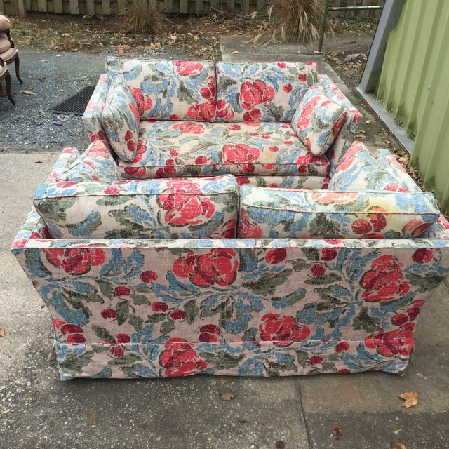 Vintage Mid-Century Modern Floral Love Seats - a Pair - Image 3 of 11