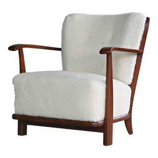 Lounge Chair in Lambswool Frits Schlegel Model 1594 for Fritz Hansen, 1940s For Sale