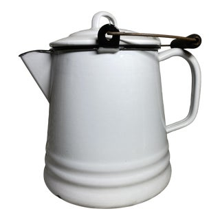 Antique Large French Enamelware White & Black Pitcher For Sale
