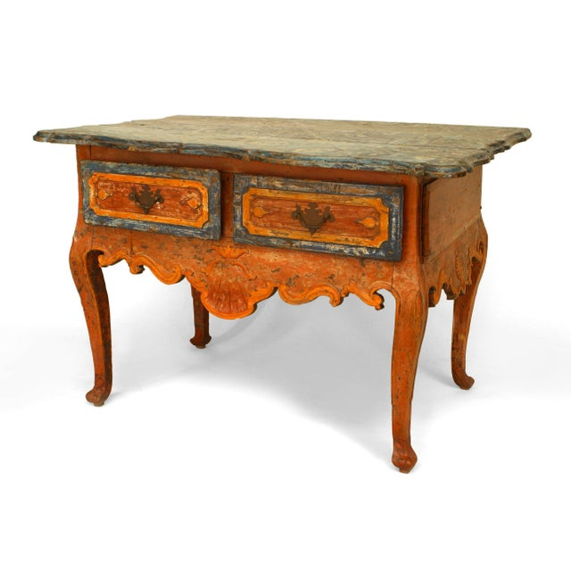 Wood Rustic Continental 'Portuguese' 18th Century Orange and Blue Painted Commode For Sale - Image 7 of 7