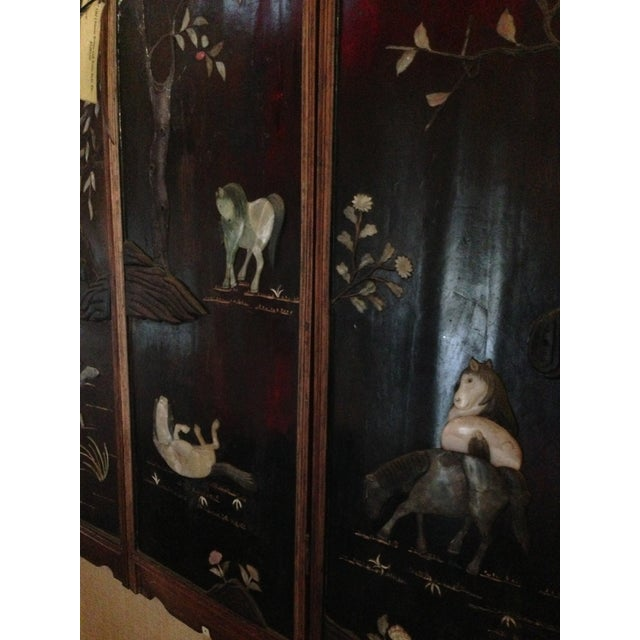 Old Asian Three Panel Screen With Jade and Ivory - Image 7 of 7