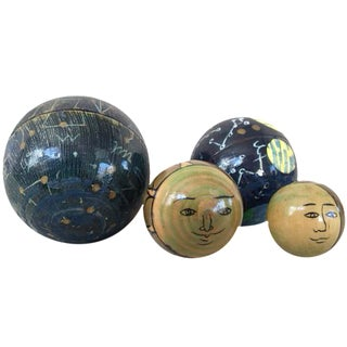 Celestial Wooden Nesting Balls - Set of 4