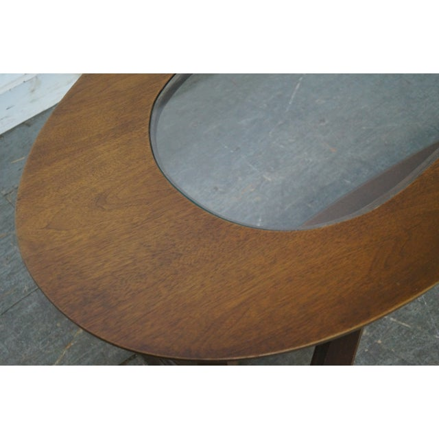 Mid-Century Boomerang Walnut & Glass Top Coffee Table - Image 7 of 10