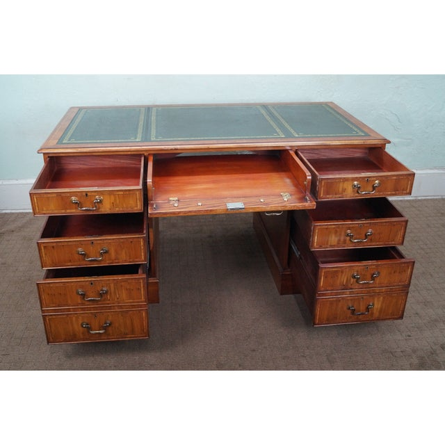 English Yew Wood Leather Top Executive Desk For Sale - Image 4 of 10