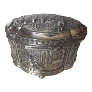 Antique Jennings Brothers Silver Jewelry Box/ Casket For Sale