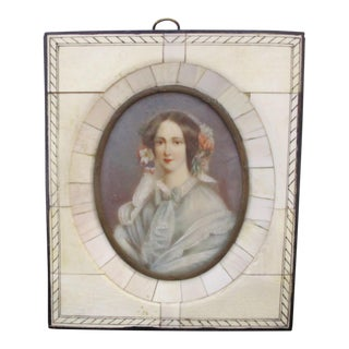 Antique Miniature Hand Painted Framed Portrait of Woman For Sale