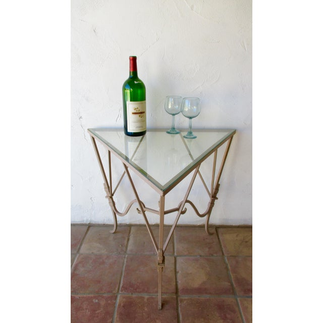 Mid 20th Century Vintage Mediterranean Wrought Iron and Glass Tall OutDoor Table Bar For Sale - Image 5 of 13