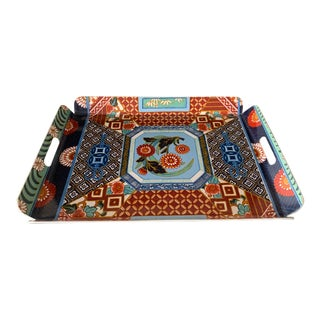 1980s Chinoiserie Molded Laminated Tray For Sale