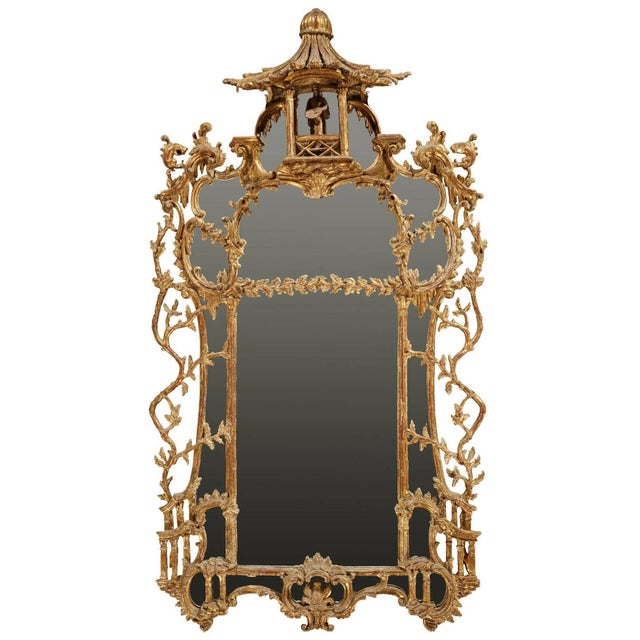 George III Chippendale Style Carved Giltwood Mirror, 19th Century For Sale - Image 9 of 9