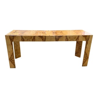 Mid Century Burl Wood Baughman Parsons Console Table For Sale