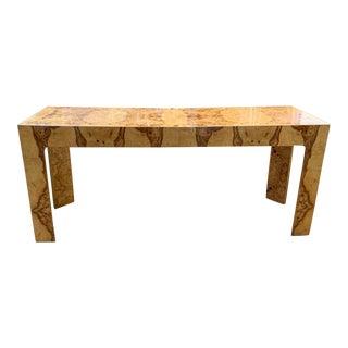 Mid Century Burl Wood Baughman Parsons Console Table For Sale