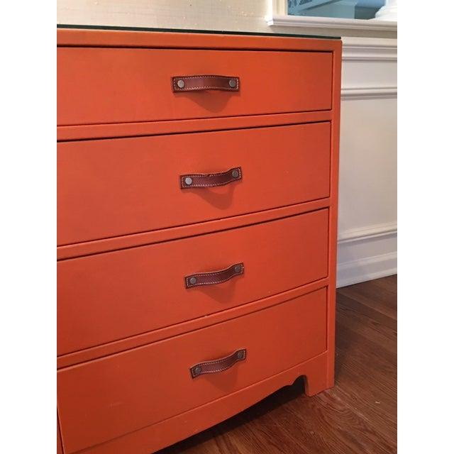 1970s Hollywood Regency Hermes Orange Leather Wrapped Dresser For Sale - Image 4 of 7