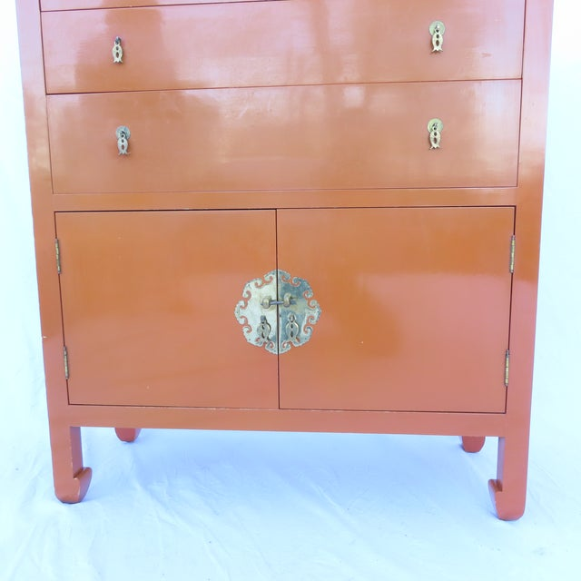 Asian Vtg 1970s Chinese Lacquered Burnt Orange Tall Chest Dresser Cabinet Hong Kong For Sale - Image 3 of 13